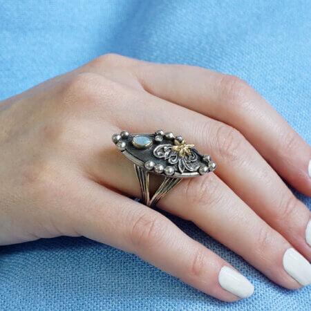 Γυναικείο Ασημόχρυσο Δαχτυλίδι με Οπάλιο Χειροποίητο 18Κ 950 με Μπριγιάν