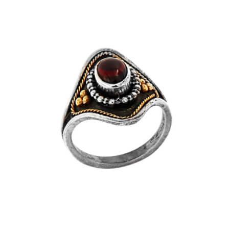 Χειροποίητο Δαχτυλίδι με Κόκκινη Πέτρα Ρουμπίνι Ασημόχρυσο 950 18Κ Γυναικείο