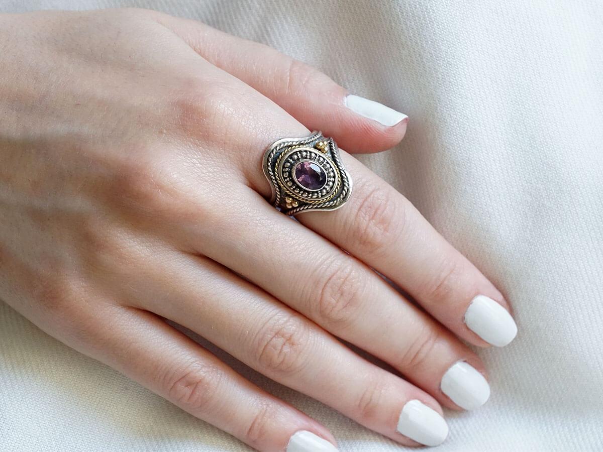 Γυναικείο Κόσμημα Δαχτυλίδι Χειροποίητο Ασημόχρυσο Αμέθυστος