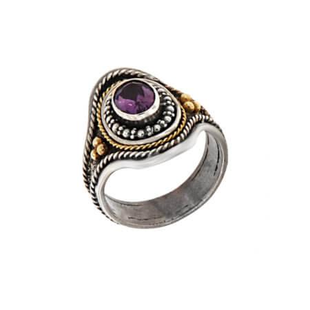 Εντυπωσιακό Δαχτυλίδι Γυναικείο Χειροποίητο Ασημόχρυσο 950 18Κ