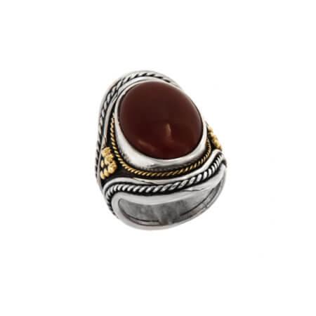 Δαχτυλίδι με Πέτρα Κορνεόλη Γυναικείο Χειροποίητο Ασημόχρυσο 950 18Κ