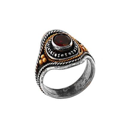 Γυναικείο Δαχτυλίδι με Ρουμπίνι Χειροποίητο Ασημόχρυσο 950 18Κ