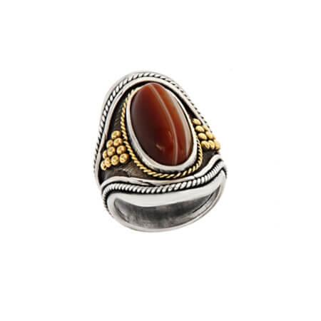 Εντυπωσιακό Δαχτυλίδι με Πέτρα Χρυσόλιθος Ασημόχρυσο 950 18Κ Γυναικείο Χειροποίητο