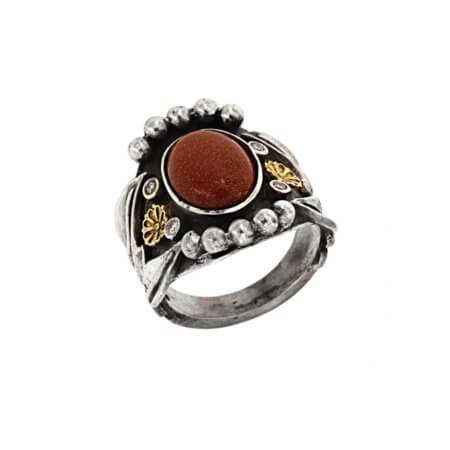Γυναικείο Χειροποίητο Ασημόχρυσο Δαχτυλίδι με Χρυσόλιθο Μπριγιάν 950 18Κ