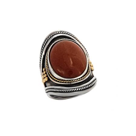 Γυναικείο Χειροποίητο Ασημόχρυσο Δαχτυλίδι με Μεγάλη Πέτρα Χρυσόλιθος 950 18Κ