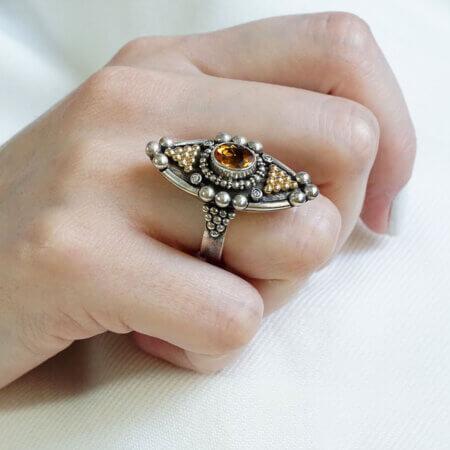 Γυναικείο Χειροποίητο Δαχτυλίδι Μπριγιάν Citrine Ασημόχρυσο Κόσμημα Δώρο