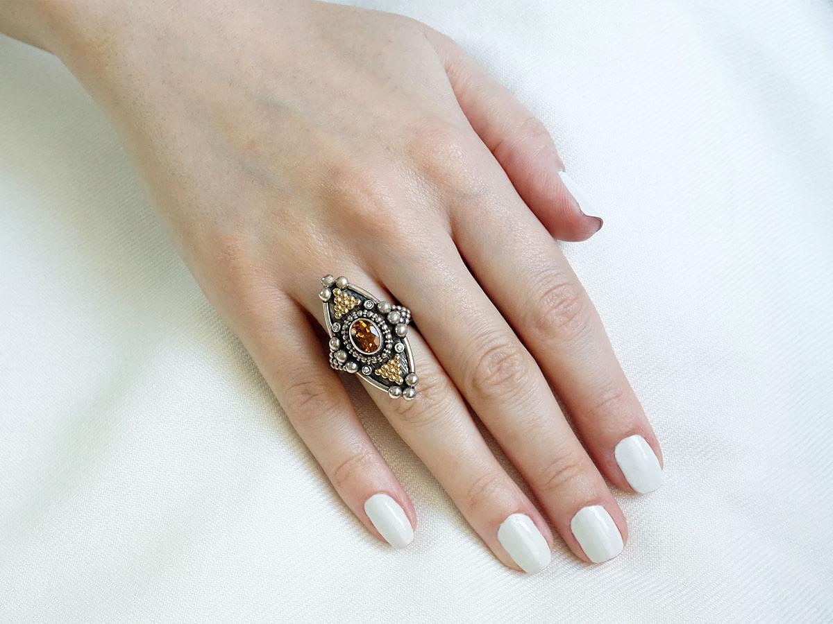 Γυναικείο Χειροποίητο Δαχτυλίδι Μπριγιάν Citrine Ασημόχρυσο Κόσμημα