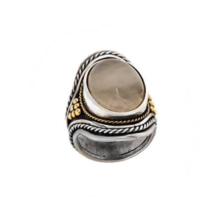Χειροποίητο Δαχτυλίδι με Μεγάλη Πέτρα Αχάτη Ασημόχρυσο 950 18Κ Γυναικείο