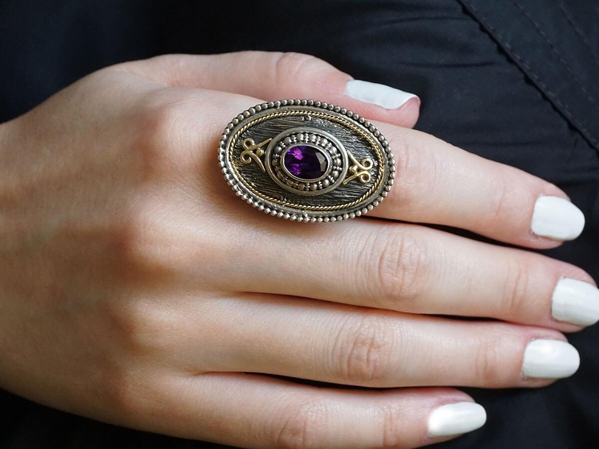 Κόσμημα Γυναικείο Δαχτυλίδι Χειροποίητο Αμέθυστος Ασημόχρυσο 950 18Κ
