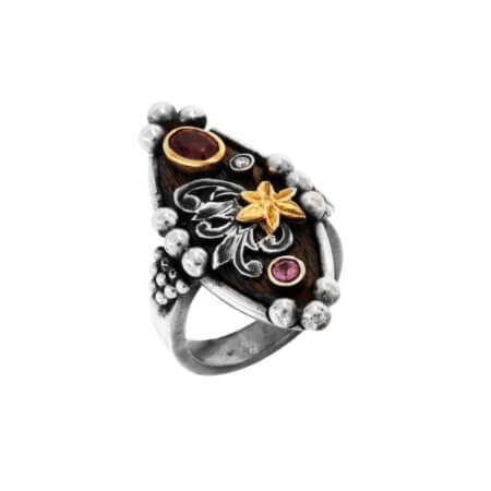 Δαχτυλίδι με Πολύτιμες Πέτρες Χειροποίητο Ασημόχρυσο 18Κ 950 Αμέθυστος Ρουμπίνι