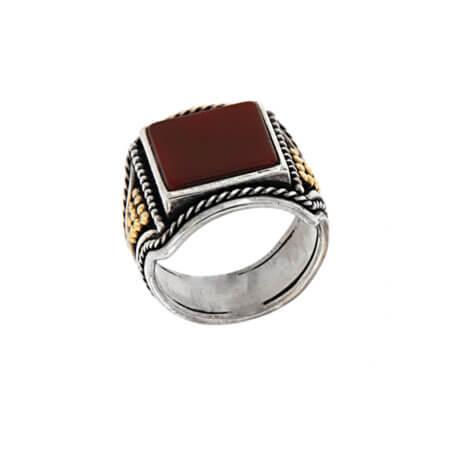 Χειροποίητο Ασημόχρυσο 950 18Κ Ανδρικό Δαχτυλίδι με Πέτρα