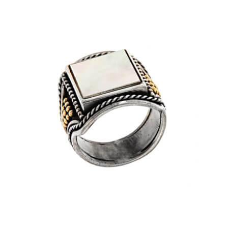 Χειροποίητο Ανδρικό Δαχτυλίδι Ασήμι 950 18Κ Madre Perla