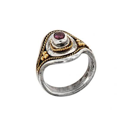 Χειροποίητο Δαχτυλίδι Ασημόχρυσο 18Κ 950 Αμέθυστος