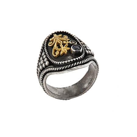 Χειροποίητο Δαχτυλίδι με Ζαφείρι Μπριγιάν Ασημόχρυσο 950 18Κ