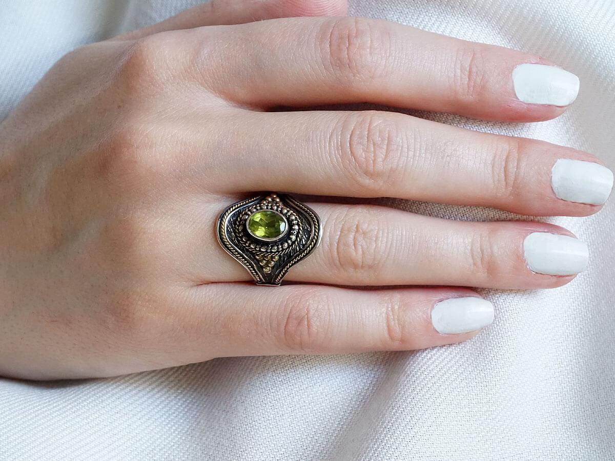 Χειροποίητο Δαχτυλίδι Γυναικείο Ασημόχρυσο 950 18Κ Αχάτης Δώρο Κόσμημα