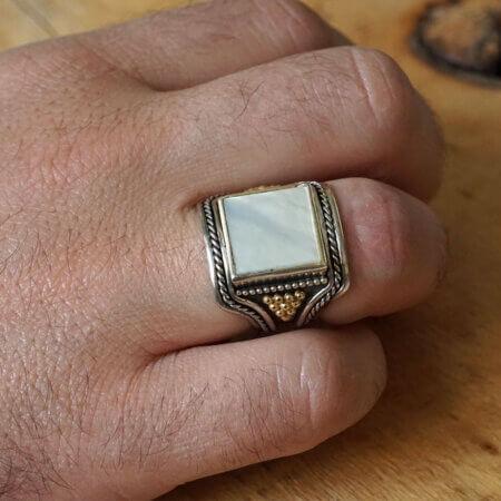 Χειροποίητο Δαχτυλίδι Ασήμι Χρυσό Madre Perla Ανδρικό Κόσμημα