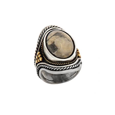 Χειροποίητο Δαχτυλίδι με Πέτρα Αχάτη Ασημόχρυσο 18Κ 950