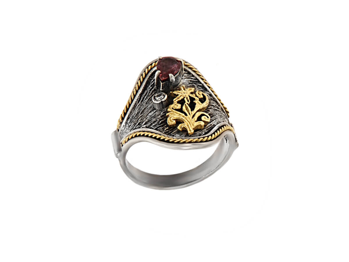 Δαχτυλίδι Χειροποίητο Ασημόχρυσο 18Κ 950 Αμέθυστος Μπριγιάν