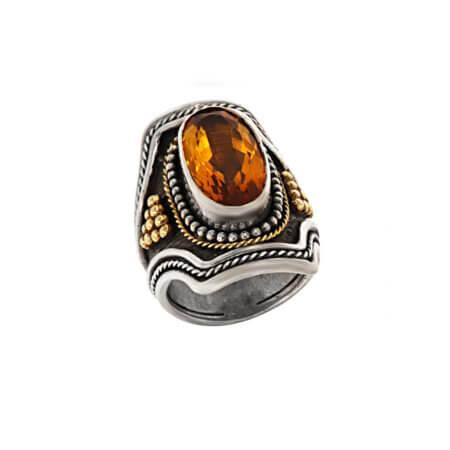 Ασημόχρυσο Χειροποίητο Δαχτυλίδι με Σιτρίν Πέτρα