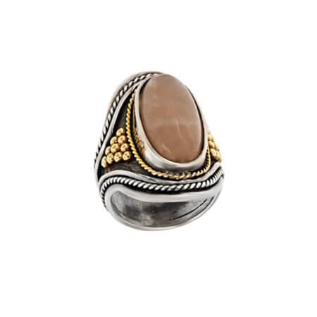 Χειροποίητο Δαχτυλίδι με Χαλαζία Πέτρα Quartz Ασημόχρυσο