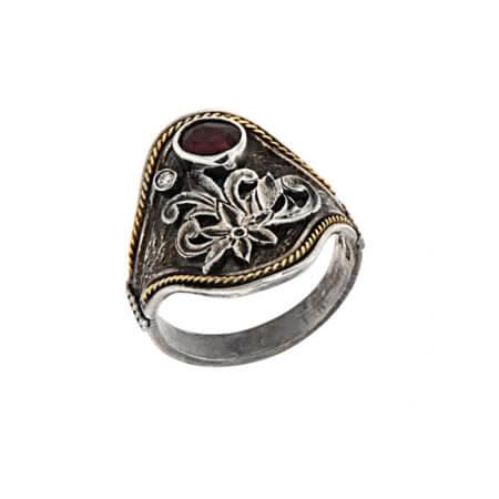 Χειροποίητο Γυναικείο Ασημόχρυσο Δαχτυλίδι με Πολύτιμες Πέτρες 950-18Κ Ρουμπίνι Μπριγιάν