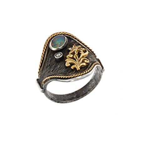 Χειροποίητο Γυναικείο Ασημόχρυσο Δαχτυλίδι με Οπάλιο Μπριγιάν