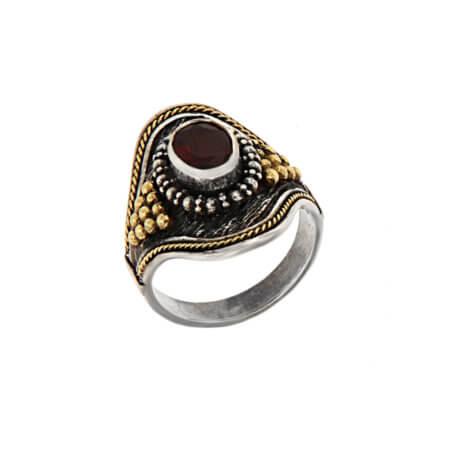 Χειροποίητο Γυναικείο Δαχτυλίδι με Κόκκινη Πέτρα Ρουμπίνι 950 18Κ