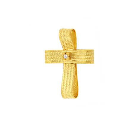 Χειροποίητος Σταυρός 14 Καρατίων Ζιργκόν Πέτρα Γυναικείος Βάπτιση Αρραβώνας