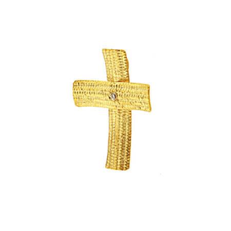 Χειροποίητος Σταυρός Χρυσός 14Κ Ζιργκόν Πέτρα Γυναικείος
