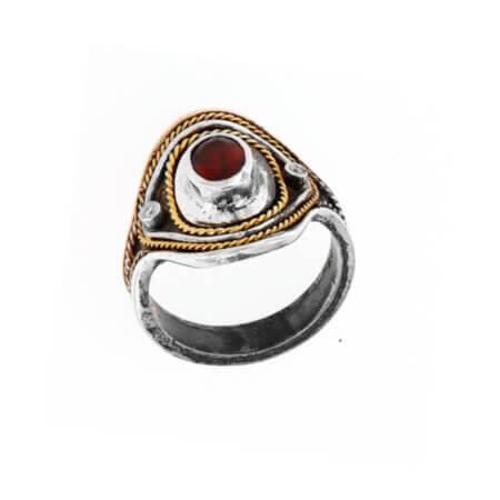 Χειροποίητο Δαχτυλίδι με Διαμάντια Μπριγιάν Ρουμπίνι Ασημόχρυσο 950 18Κ
