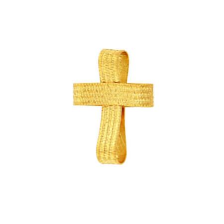 Χειροποίητος Σταυρός Βάπτισης Αρραβώνα Χρυσός 14Κ Γυναικείος