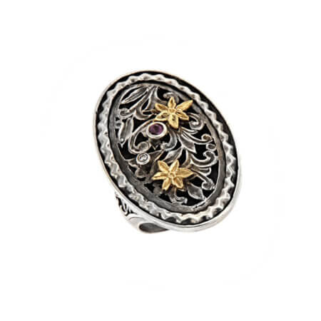 Χειροποίητο Δαχτυλίδι με Σχέδια Σκαλιστά Ασήμι 950 Χρυσό 18Κ Γυναικείο