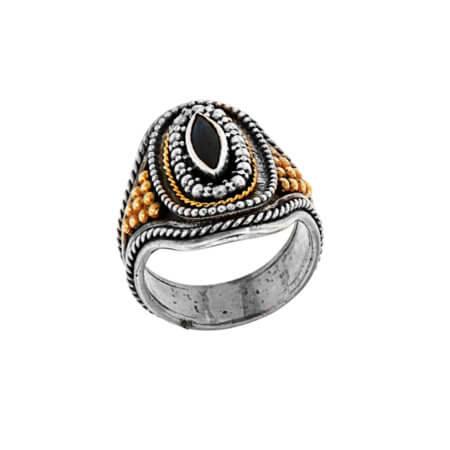 18Κ 950 Ασημόχρυσο Χειροποίητο Δαχτυλίδι με Ζαφείρι