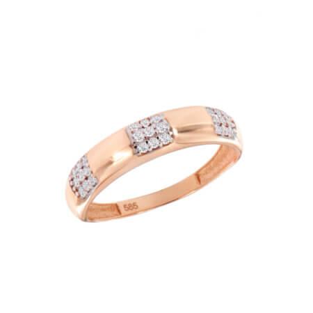Ροζ Χρυσό Δαχτυλίδι με Ζιργκόν Πέτρες Γυναικείο 14 Καρατίων