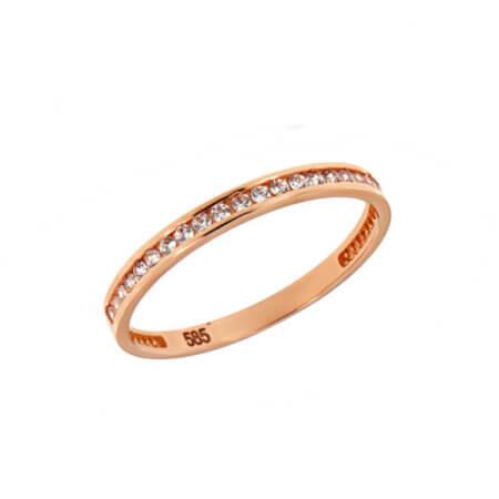 Δαχτυλίδι 14Κ Ροζ Χρυσό Χρώμα Ζιργκόν Γυναικείο Κόσμημα