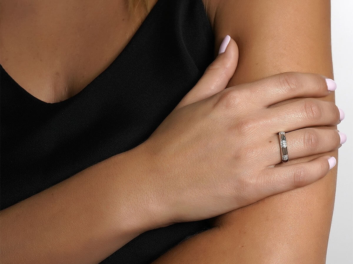 Λευκόχρυσο Δαχτυλίδι Ζιργκόν Πέτρες 14Κ