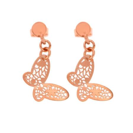 Ροζ Χρυσά Σκουλαρίκια Κρεμαστά Πεταλούδα 14Κ Γυναικείο Κόσμημα