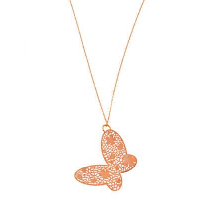Ροζ Χρυσό Μενταγιόν Πεταλούδα 14Κ Με Αλυσίδα