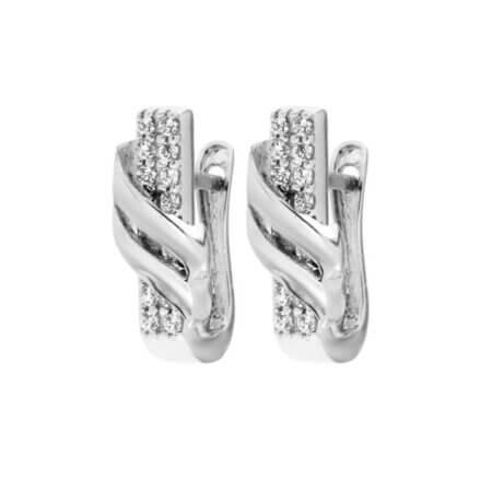 Σκουλαρίκια Με Κλιπ 14 Καρατίων Λευκόχρυσα Ζιργκόν Πέτρες