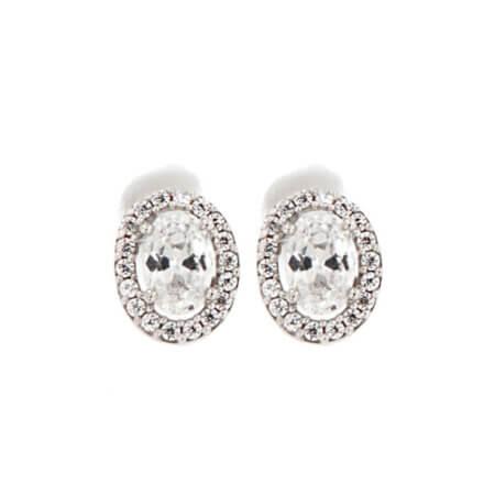 Σκουλαρίκια Ροζέτες 14Κ Λευκές Ζιργκόν Πέτρες Λευκόχρυσα