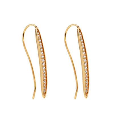 Σκουλαρίκια Χρυσά 14 Καρατίων Ζιργκόν Κρεμαστά Γυναικείο Κοσμημα