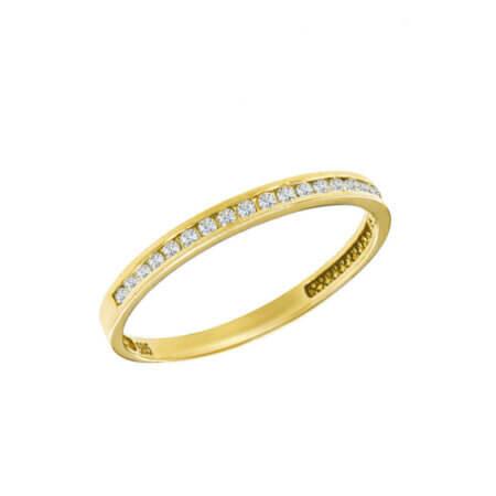 Χρυσό Μισόβερο Με Λευκές Ζιργκόν Πέτρες 14Κ Γυναικείο Δαχτυλίδι