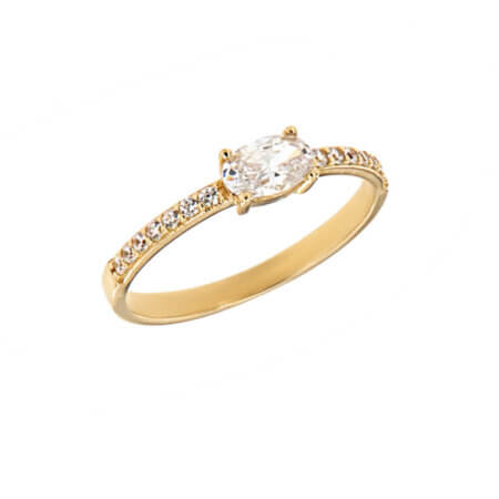 Χρυσό Μονόπετρο Με Ζιργκόν Πέτρες 14 Καρατίων Γυναικείο Δαχτυλίδι Δώρο
