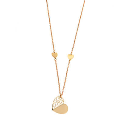 Χρυσό Κρεμαστό 14Κ Καρδιές Αλυσίδα