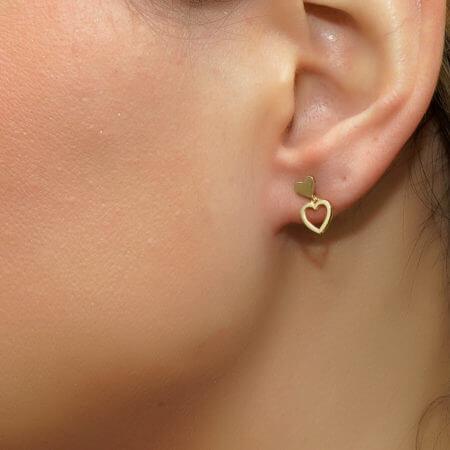 14 Καράτια Χρυσά Καρφωτά Σκουλαρίκια Καρδιές Γυναικεία