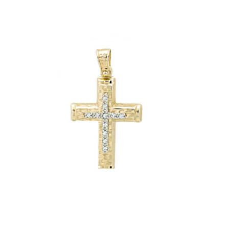 Χρυσός Γυναικείος Σταυρός 14Κ Με Ζιργκόν Λευκές Πέτρες Βάπτιση Αρραβώνας
