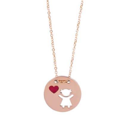 Μενταγιόν Κοριτσάκι Ροζ Χρυσό 9 Καράτια Καρδιά Δώρο Για Μαμά