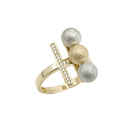 Μοντέρνο Χρυσό Δαχτυλίδι Ζιργκόν Πέτρες 14Κ Κόσμημα Δώρο
