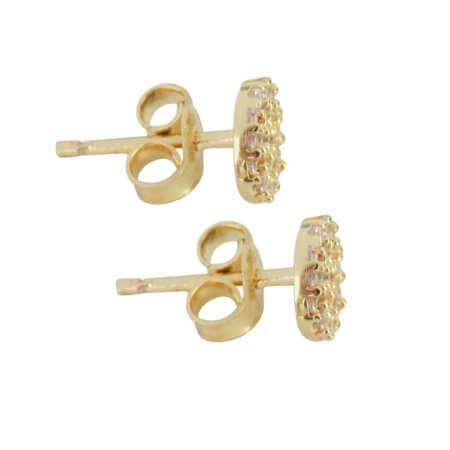 Σκουλαρίκια Χρυσά 14Κ Καρφωτά Λευκές Ζιργκόν Πέτρες