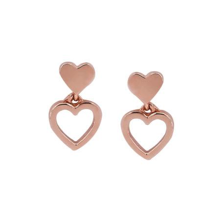 Ροζ Χρυσά Γυναικεία Σκουλαρίκια Με Καρδιές 14 Καράτια